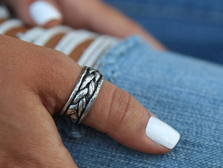 Silver Braided Boho Thumb Ring