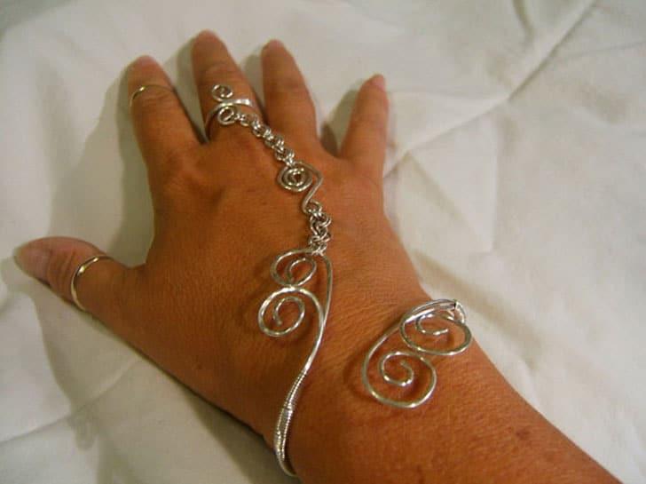 Solid Sterling Wire Spiraled Slave Bracelet