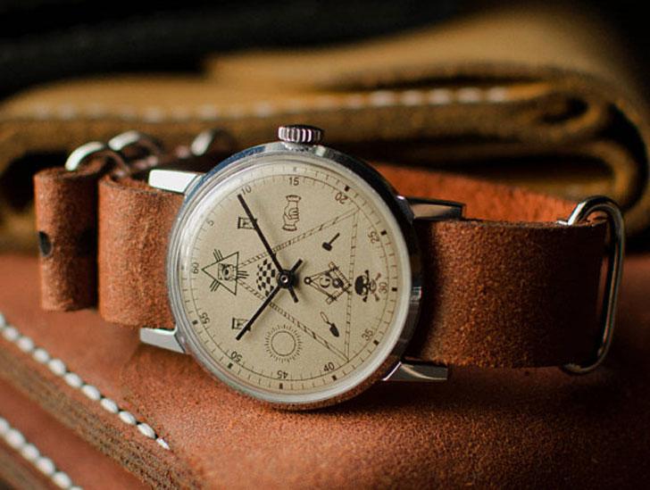 Soviet Pobeda Masonic Wrist Watch - Stylish & Unique Men's Watches Under $200