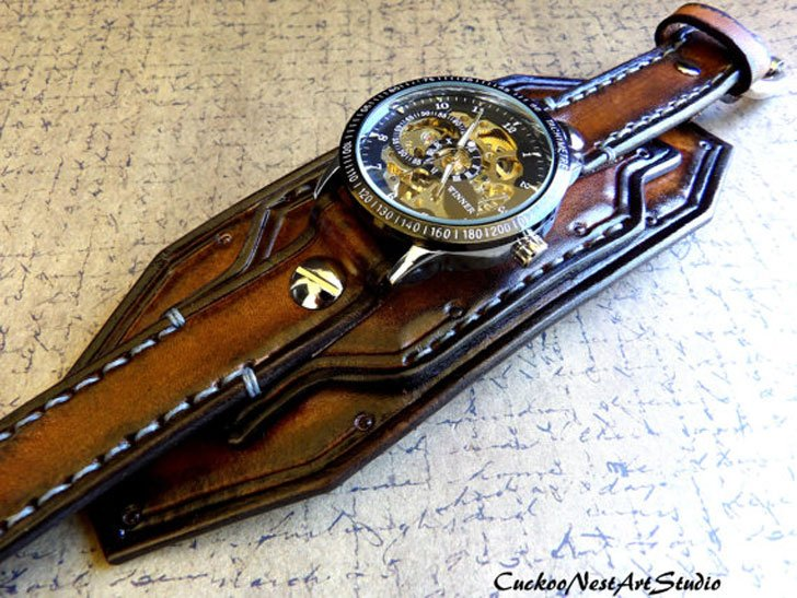 Steampunk Leather Skeleton Wrist Watch