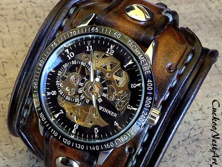 Steampunk Leather Skeleton Wrist Watch