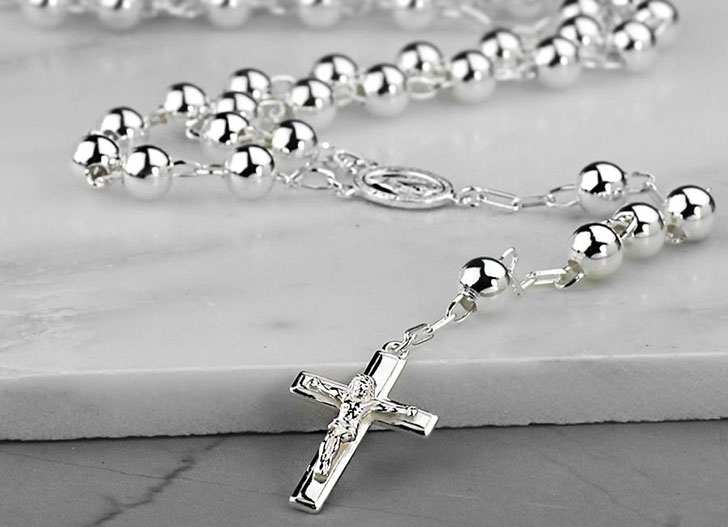 Sterling Silver Rosary Beads Necklace