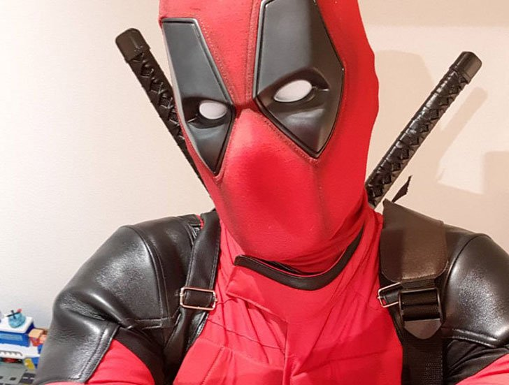 This Weathered Deadpool Costume in Cordura & Leather