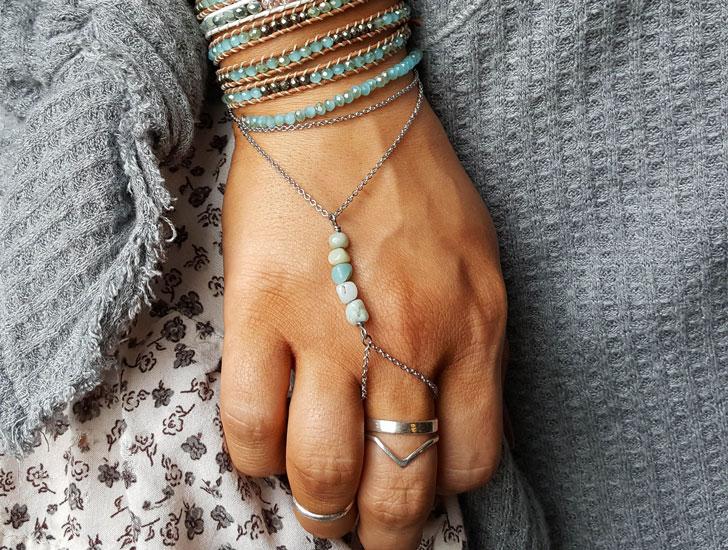 Turquoise Stone Slave Bracelet