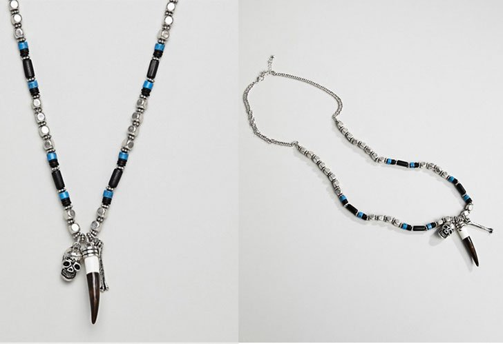 Vintage Inspired Skull & Bone Beaded Necklace