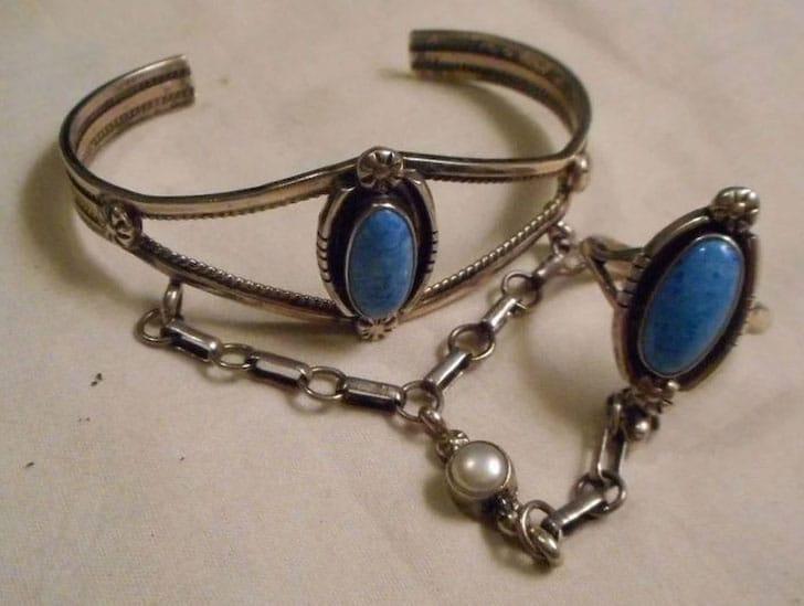Vintage Sterling Silver Lapis Slave Bracelet