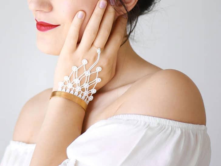 White Lace Bridal Bracelet