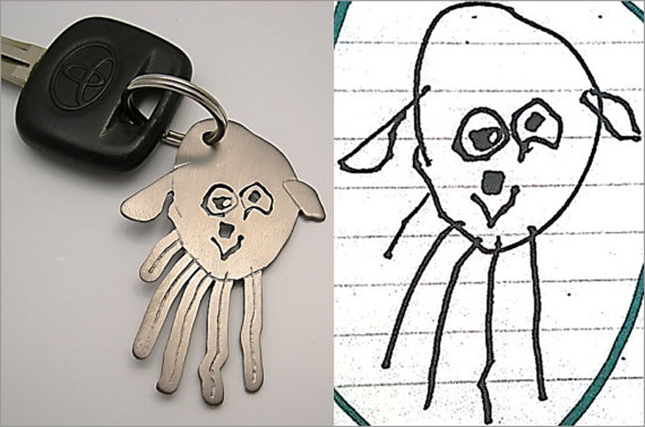 Your Child's Drawing on a Keychain