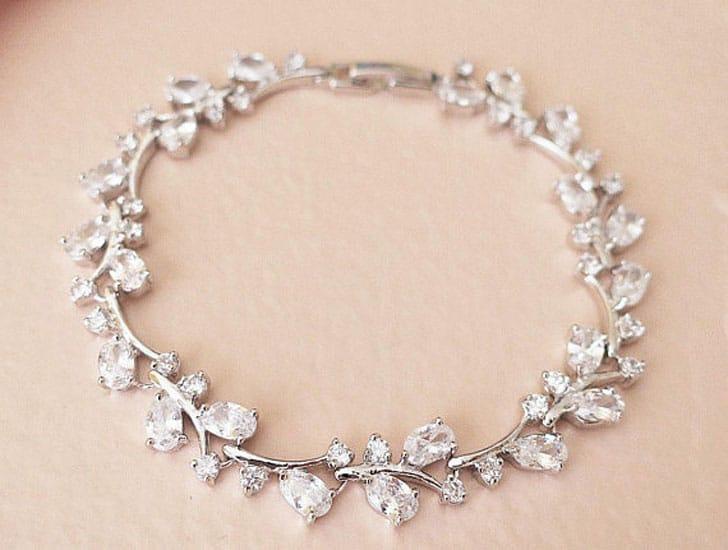925 Silver Leaf Crystal Bridal Bracelet