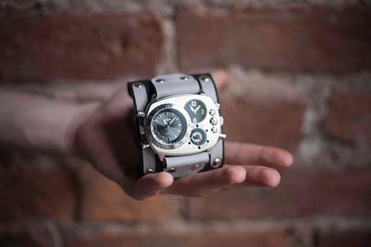 Black Leather Adjustable Cuff Custom Quartz Watch - steampunk watches