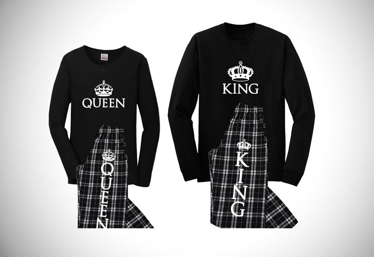 black and white queen and king pajamas