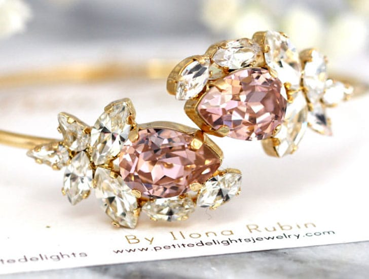 Blush Champagne Crystal Wedding Bracelet - wedding bracelets