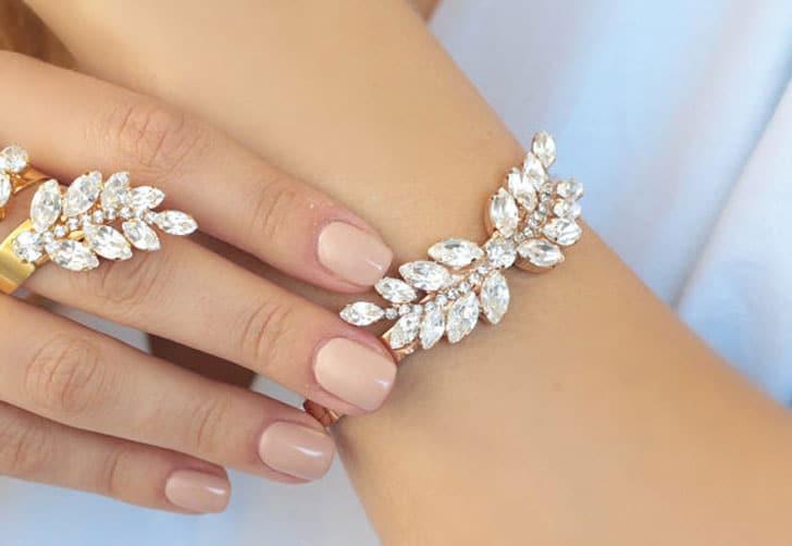 Bohemian Crystal Rose Gold Cuff Wedding Bracelet
