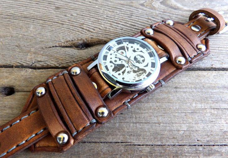 Brown Leather Steampunk Watch Cuff