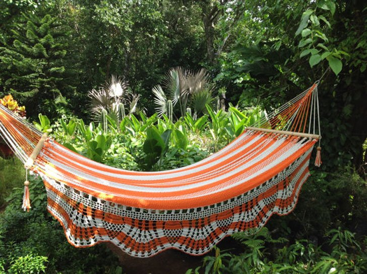 Caribbean White & Orange Handmade Hammock