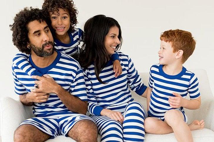 Classic Deep Blue Sea Stripes Family Pajamas Set