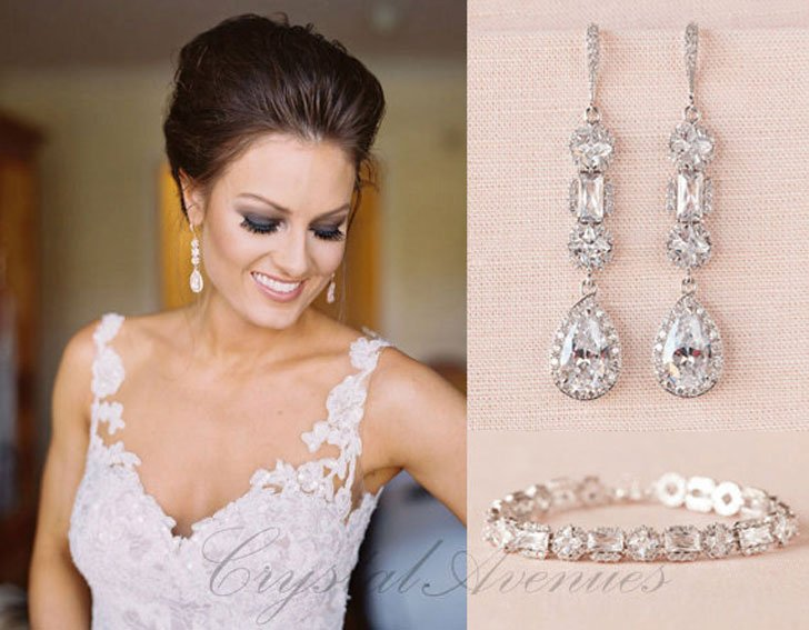 Crystal Bridal Bracelet & Matching Earrings Set