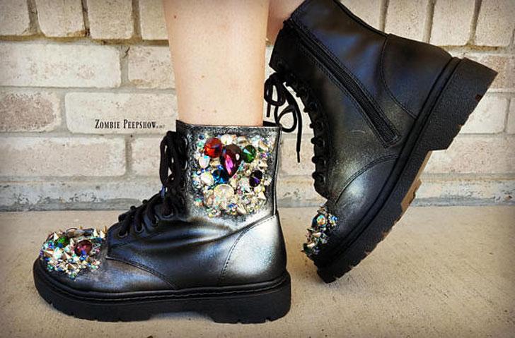 Crystal Metallic Combat Boots