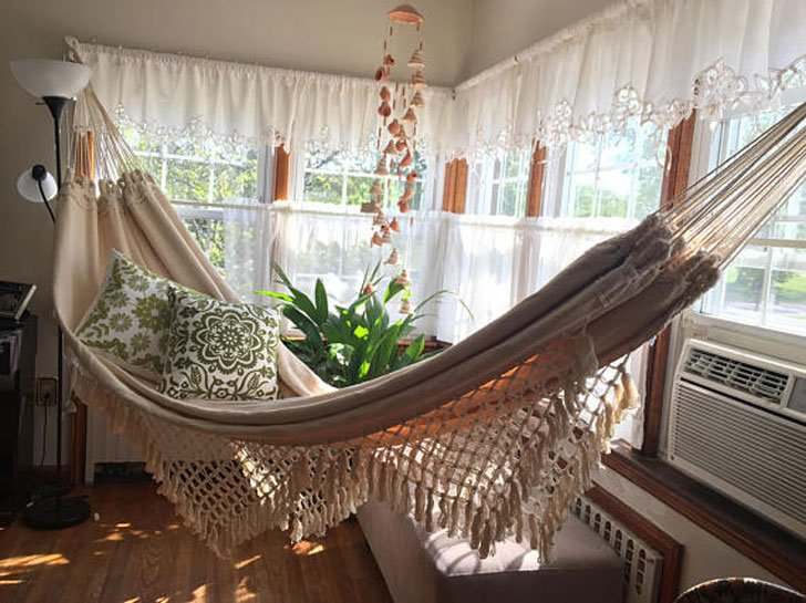 Double Sized Hand Woven Hammock with Bell Fringe