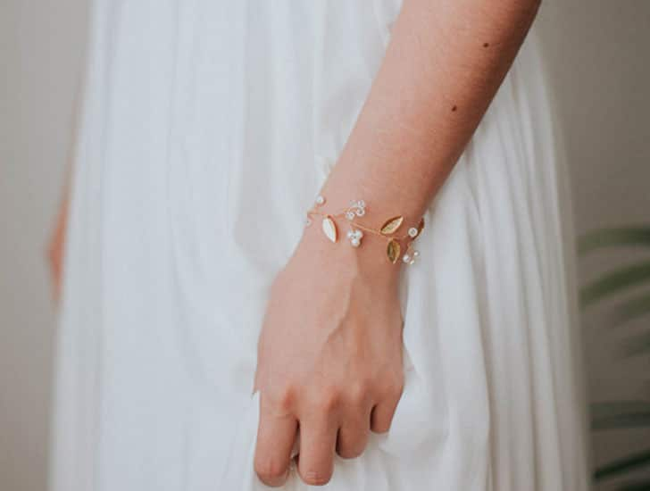 Gold Leaf Bridal Bracelet