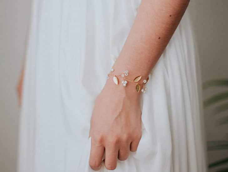 Gold Leaf Bridal Bracelet