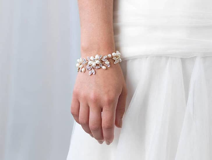 Gold Pearl Floral Wedding Bracelet