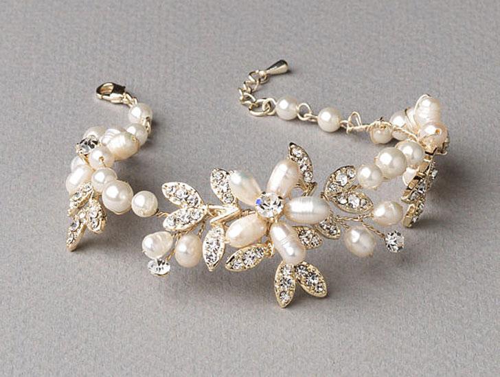Gold Pearl Floral Wedding Bracelet