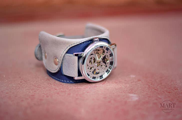 Gray Leather Steampunk Mechanical Watch