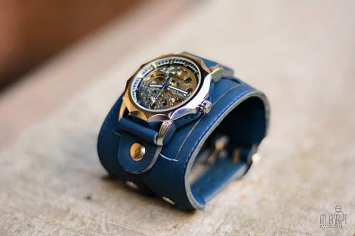 Italian Blue Leather Steampunk Watch Bracelet - steampunk watches