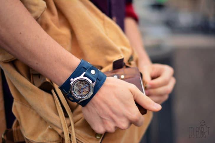 Italian Blue Leather Steampunk Watch Bracelet