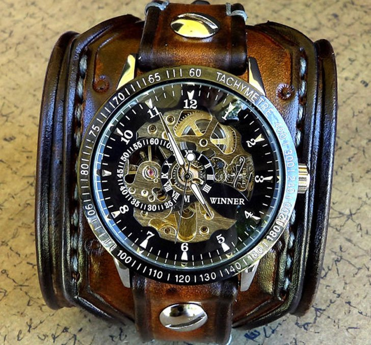 Leather Cuff Skeleton Steampunk Wrist Watch