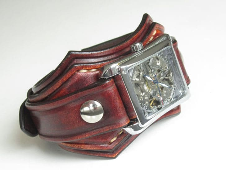 Leather Cuff Steampunk Watch Bracelet