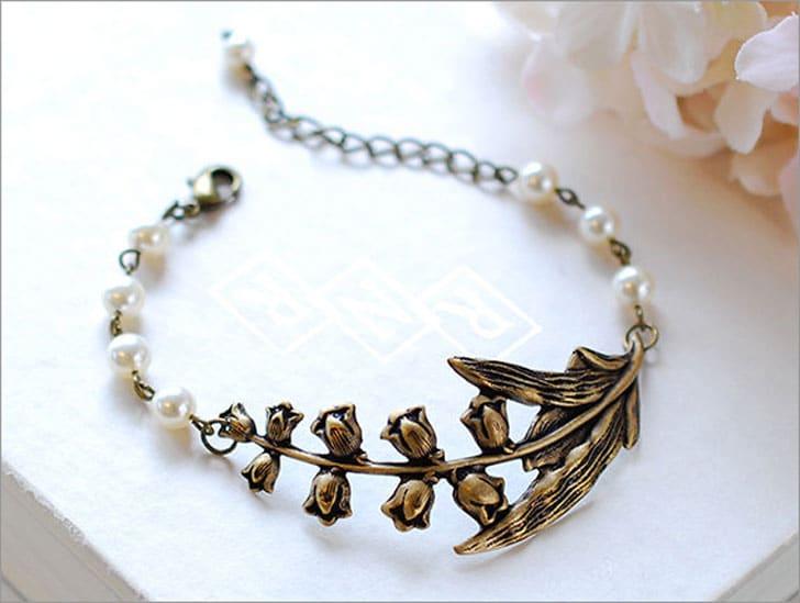 Lily of the Valley Bridal Bracelet - wedding bracelets