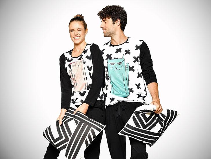Matching Cool Cat Couples Pajamas
