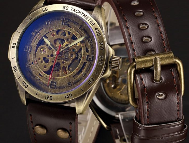 Mechanical Automatic Skeleton Steampunk Watch