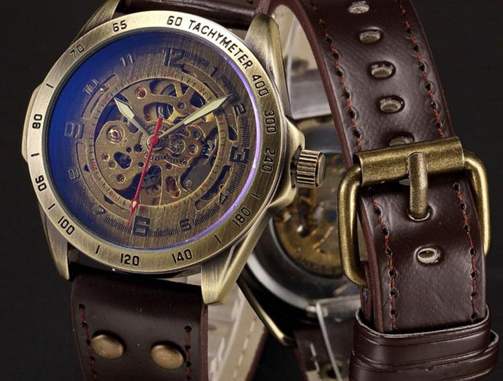 Mechanical Automatic Skeleton Steampunk Watch