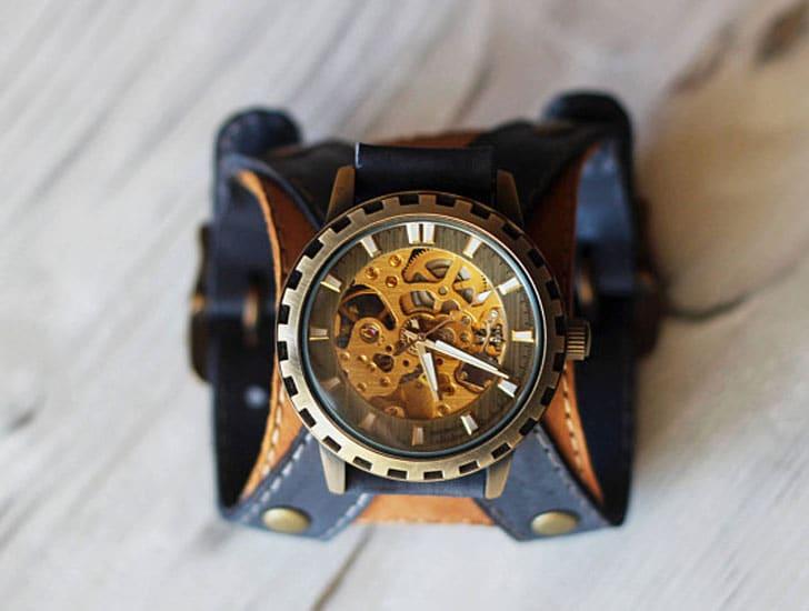 Mens Steampunk Leather Watch Bracelet