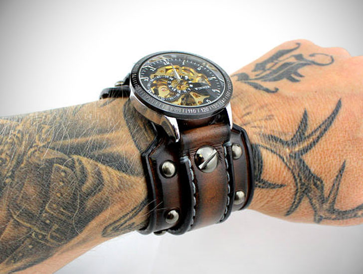 Men's Steampunk Watch with Riveted Aged Brown Leather