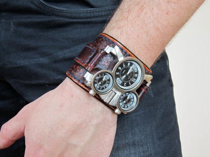 Military Steampunk Wrist Cuff Watch
