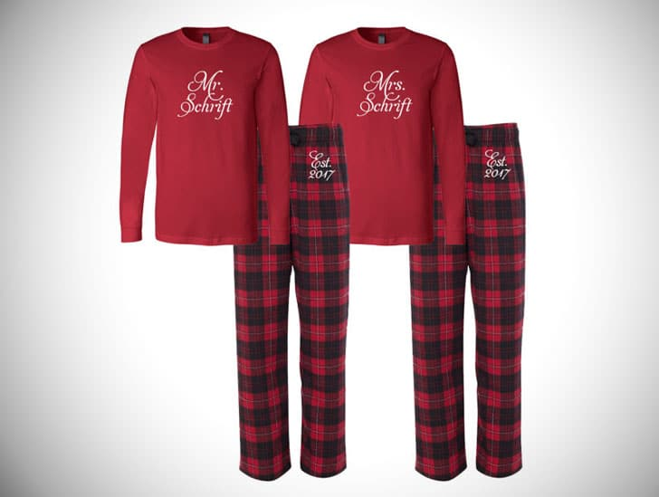 Mr and Mrs Personalized Flannel Pj Set