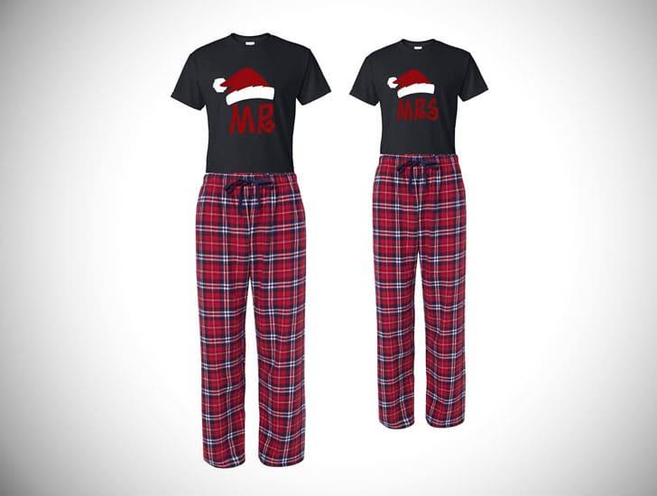 Mr. & Mrs. Santa Hat Pajama and Shirt Set