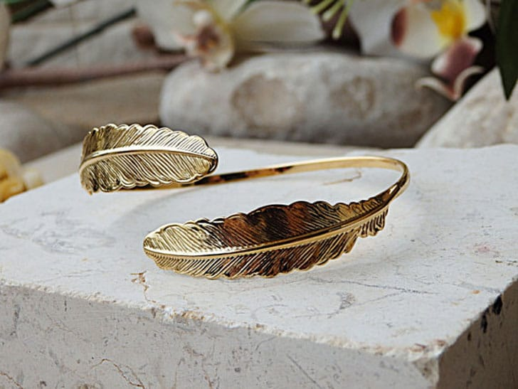 Open Leaf Gold Bangle Bridal Bracelet - wedding bracelets