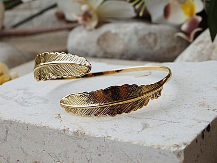 Open Leaf Gold Bangle Bridal Bracelet - wedding bracelets