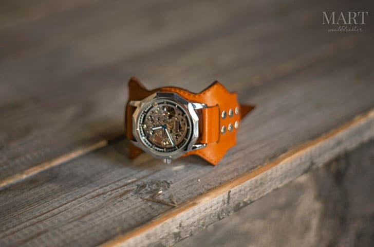 Orange Leather Band Mechanical Wrist Watch