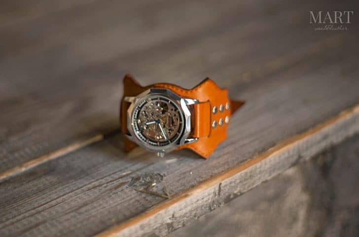 Orange Leather Band Mechanical Wrist Watch