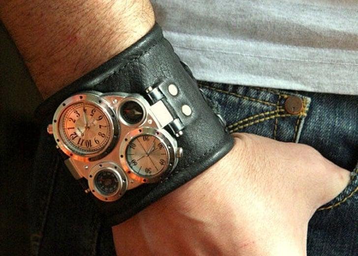 Pathfinder-2 Steampunk Leather Cuff Wrist Watch - steampunk watches