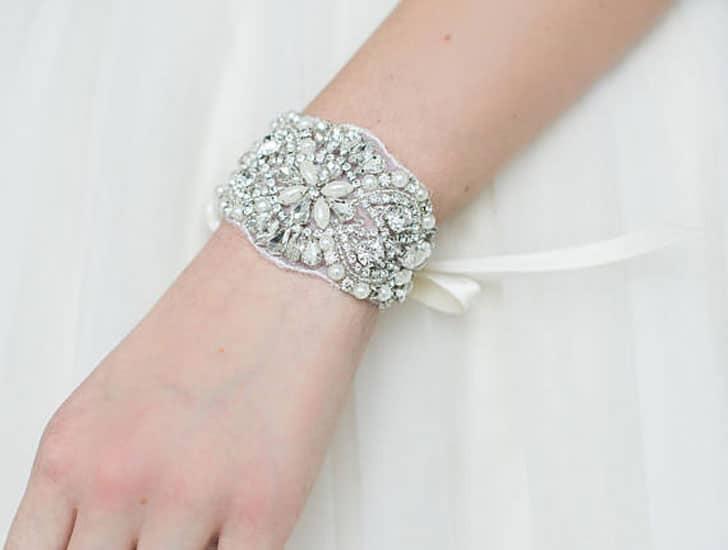Pearl Cuff Ribbon Bridal Bracelet
