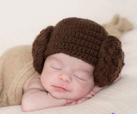 Princess Leia Crochet Baby Hats