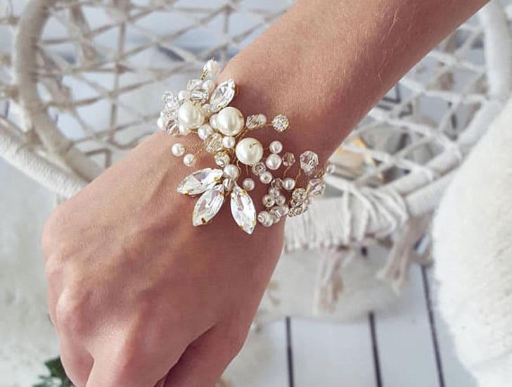 Rhinestone Bridal Cuff Pearl Bracelet - wedding bracelets
