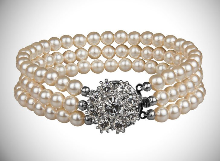 Rhinestone Flower Three String Pearl Bracelet